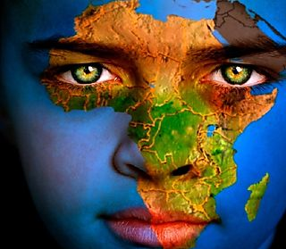 Afrique Map on human face