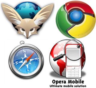 Quatre navigateurs mobiles