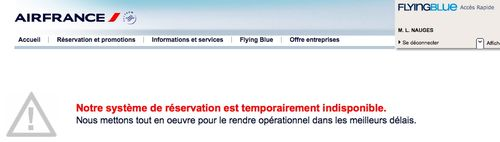 Air France indisponible