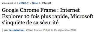 ZDNet sur Chrome