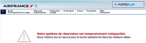 Ecran Air France Indisponible