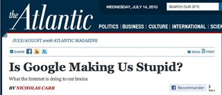 Article Is google making us stupid