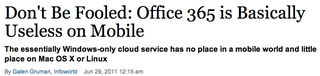 Office 365 useless on mobiles