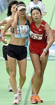 Exhausted marathon women