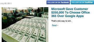 Microsoft gave $ 250000 Office 365