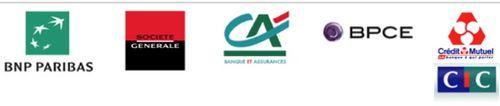 Logo cinq banques francaises