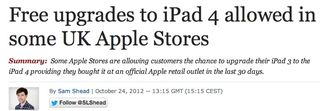 Free upgrades to iPad4