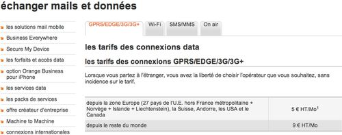 Tarifs Data International Orange