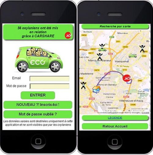 Oxylane Carshare app images 1 & 2