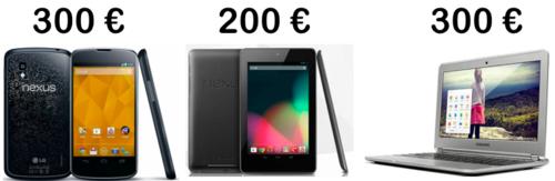 Nexus 4, Nexus 7, Chromebook
