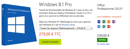 Prix Windows 8.1 pro et Office 2013 pro