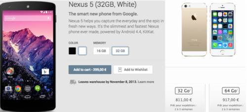 Prix Nexus 5 vs Apple 5S
