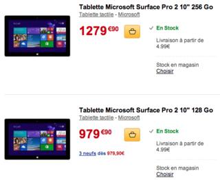 Prix FNAC Surface Pro 2 tablettes