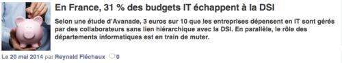 France 31% budgets échappent DSI