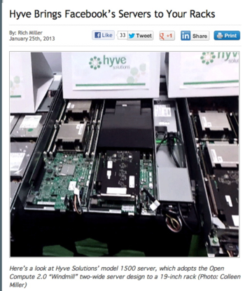 Hyve servers on Open Compute Facebook Design