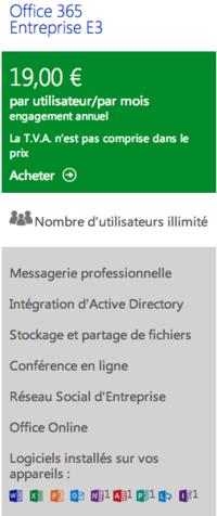 Office 365 E3 prix euros