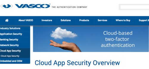 Vasco Cloud double authentication