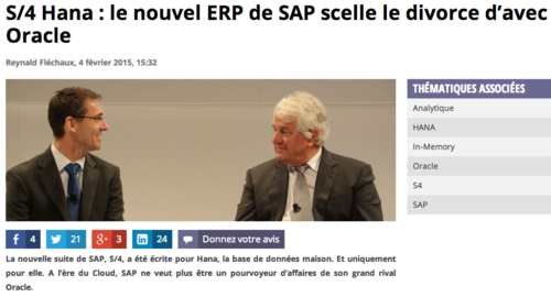 SAP S4 for HANA, pas Oracle