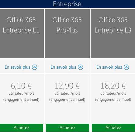 Prix Office 365 France