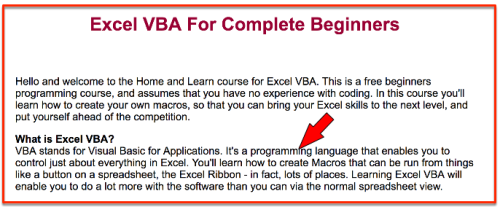 Excel VBA Programming Language