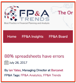 FPA 88 % Excel sheets with errors