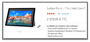 Tablette Microsoft Surface Pro 3000 €