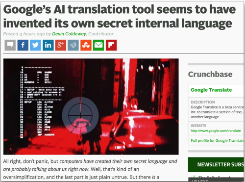 Google AI translation has invented its own language