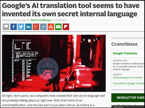 Google AI translation has invented its own language