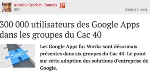 JDN 6 entreprises CAC 40 avec Google Apps