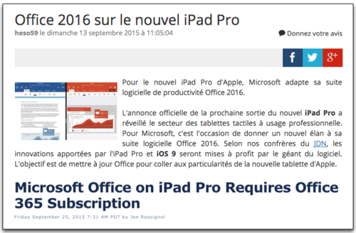 Office 2016 sur iPad Pro