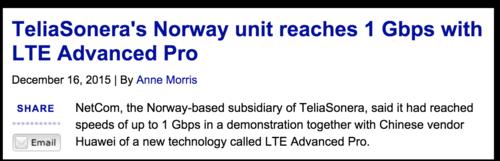 Telia Sonera 1Gb:s LTE A