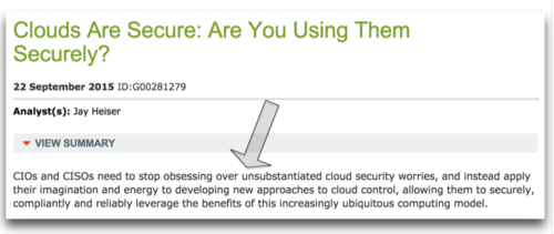 Gartner - Clouds are secure