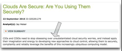 Gartner - Clouds are secure