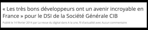 Avenir incroyable pour développeurs DSI Société Générale