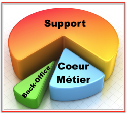 Pie Chart usages Coeur métier support backoffice