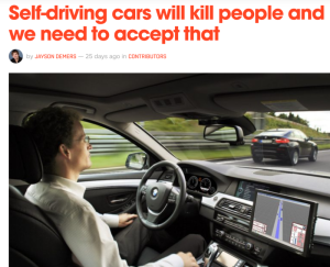 Self driving cars will kill people