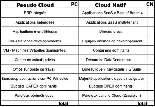 Matrice Pseudo Cloud - Cloud Natif