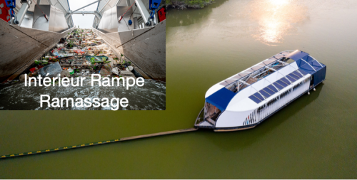 Bateau ramassage plastiques rivières