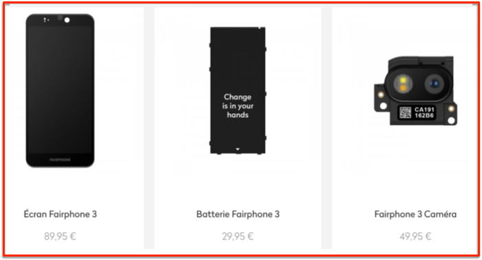 Fairphone spare parts prices