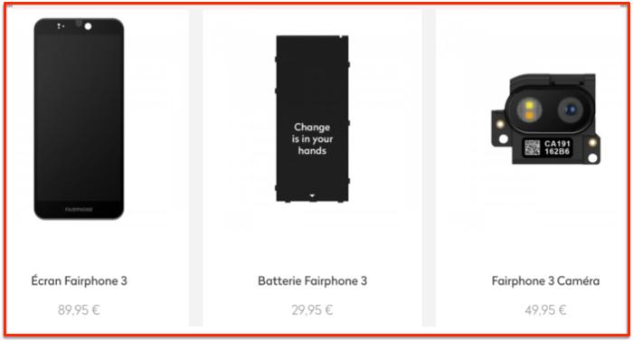 Fairphone spare parts prices