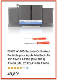 Batterie remplacement MacBook air