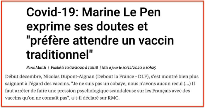 COVID-19 Le Pen Dupont Aignan