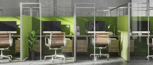 Bureaux séparés par écrans verres