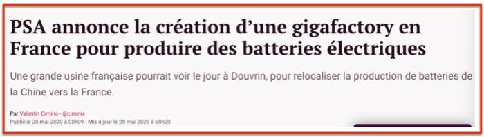 PSA Gigafactory batteries