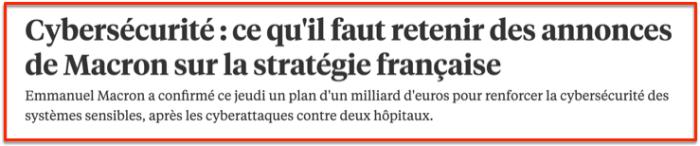 Macron Cybersécurité 1 B€