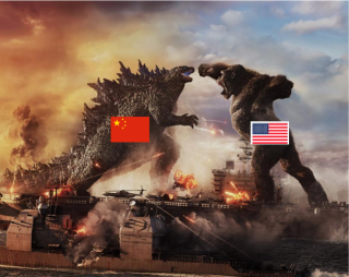 Gozilla vs Kong with flags