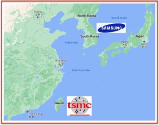 Map taiwan Corée TSMC Samsung