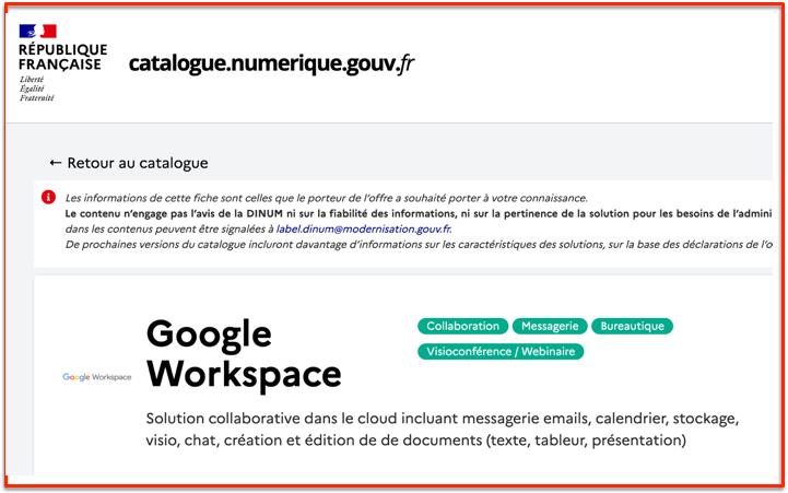 Google Workplace au catalogue gouvernement